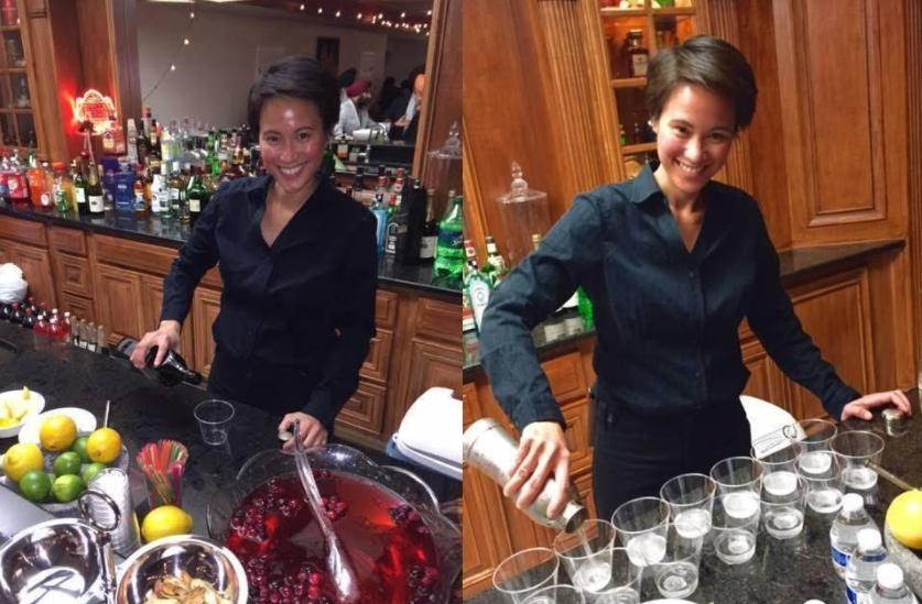 Denise bartending party